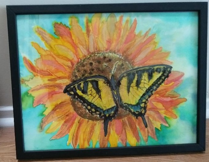 "Lori Bier ""Butterfly And Sunflower"" (2020) For sale inquiry LRaeB@aol.com"